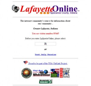 A screen shot of Lafayette Online from 1996