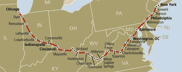 Cardinal/Hoosier State Amtrak Route Map