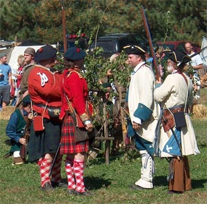 Rival soldiers talk at the Feast of the Hunters Moon in 2006