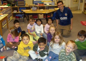 Purdue University student David Lubowski works at a Lafayette Head Start location in 2008 to help Hispanic children communicate with staff and learn English.