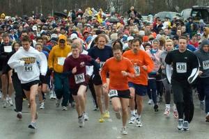 Runners start the 2008 Purdue Cancer Center Challenge 5k run/walk. (Purdue University photo/John Underwood)