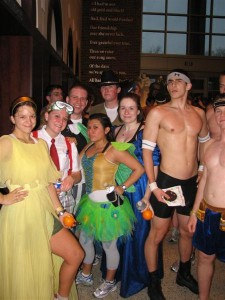 Runners strip down and dress up in preparation for the 2008 inaugural Nearly Naked Mile (Photo courtesy PAA)