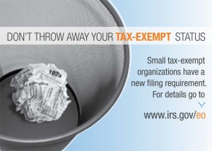 This is the second year of the new requirement for tax-exempt organizations whose gross annual receipts are normally $25,000 or less to file Form 990-N also known as e-Postcards.