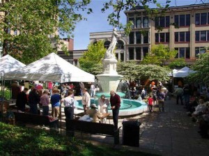 The 36th Annual Round the Fountain Art Fair will be held Saturday, May 23rd in Downtown Lafayette. (Photo courtesy of roundthefountain.org)