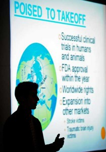 Anthony Rice of Greenwood presents a business plan for the company 'Impulse Inc.' before judges during the Purdue Research Park Entrepreneurship Academy. About 50 Indiana high school juniors and seniors worked with business leaders to create a business, including a financial plan, marketing plan and product development during the weeklong event that concluded Friday (June 26). (Andrew Hancock/Purdue Marketing and Media)