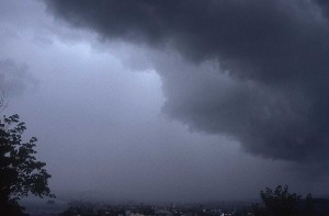 Storm clouds gather as India braces for a storm during monsoon season.