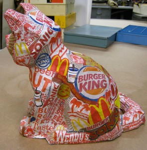 Papier-mâché art piece 'I Can Has Chainburger?' by Emily Cox, a 17-year-old senior at Harrison High School in West Lafayette, Indiana.