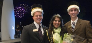 Nathan Welch (left), Naina Singh and Barry Helfrich were named Purdue's homecoming kings and queen during a pep rally at Slayter Center for the Performing Arts. (Purdue University photo/Mark Simons)
