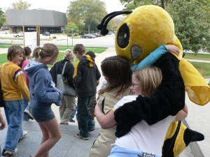 Betty Bee greets Tippecanoe County students at the 2007 Insectaganza.