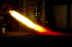 A test fire of IN Space, LLC's 10,000 lbf thrust class liquid rocket combustion chamber at the Maurice J. Zucrow Laboratories at Purdue University.