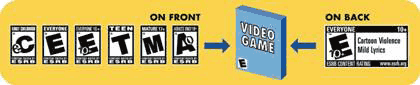 The rating label is located on the front of the video game package. All video and computer games should feature a rating.