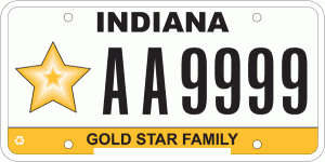 Indiana Gold Star License Plate