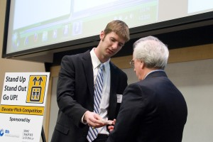 Rush Bartlett gives his elevator pitch during the 2010 elevator pitch competition.